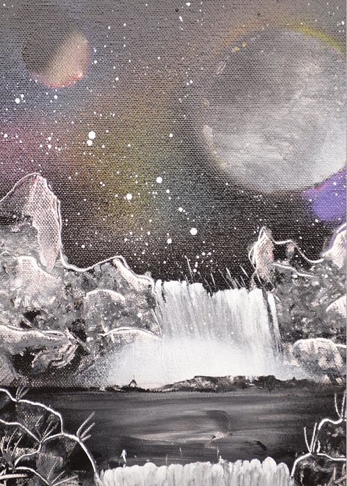 Planets Greeting Card featuring the painting Waterfalls At Night by Zack Anderson