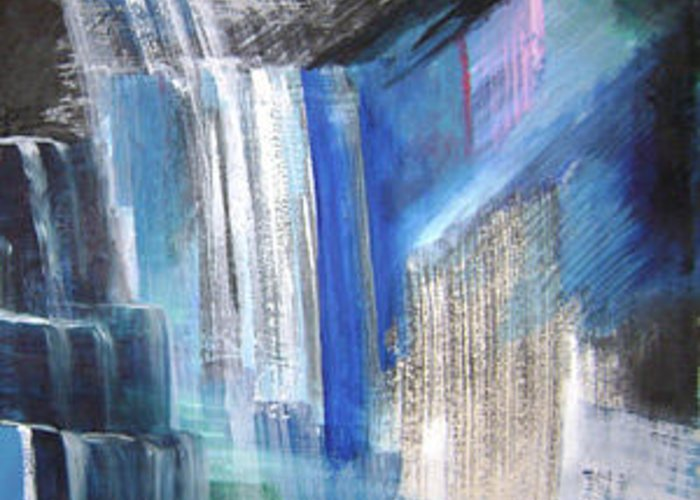Abstract Greeting Card featuring the mixed media Waterfalls No.3 by Lian Zhen