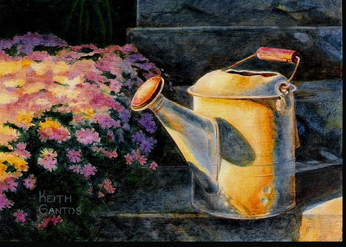 Watering Can Greeting Card featuring the painting Watering Time by Keith Gantos