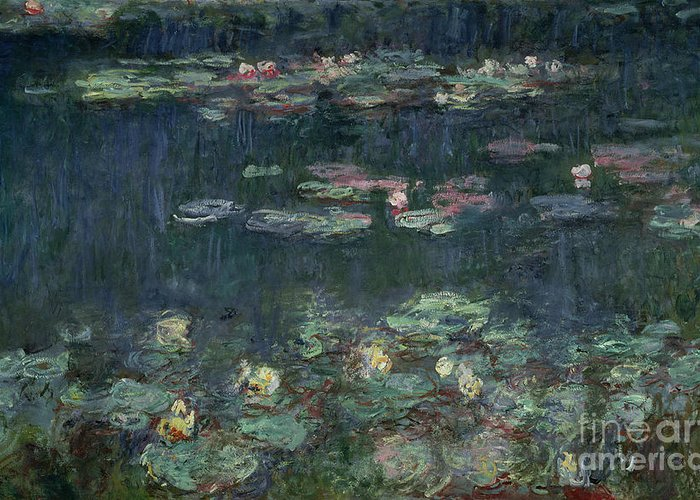 Monet Greeting Card featuring the painting Waterlilies Green Reflections by Claude Monet