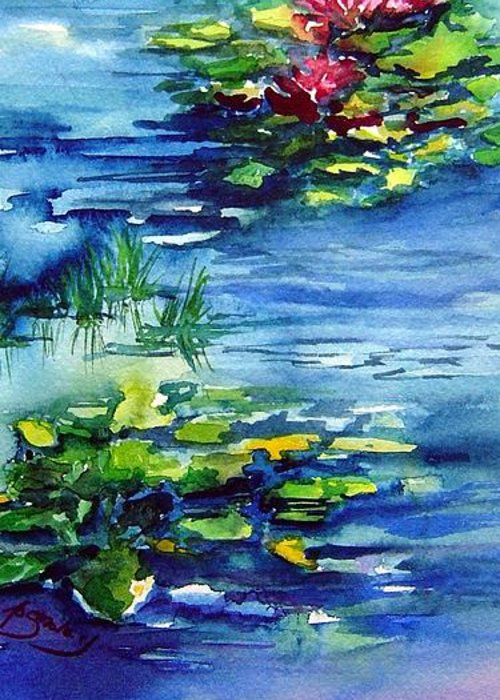 Waterlilies Greeting Card featuring the painting Waterlilies by Joanne Smoley