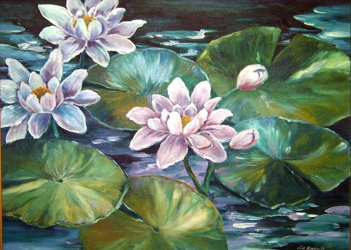 Oil Painting;waterlilies;water; Greeting Card featuring the painting Waterlilies by Lois Mountz