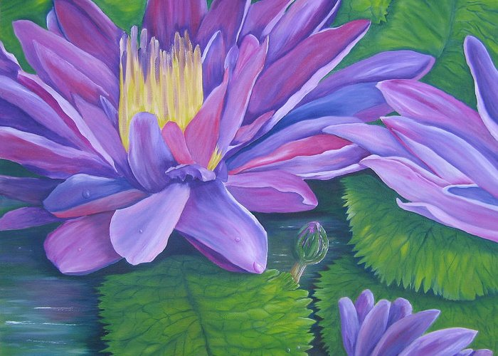 Floral Greeting Card featuring the painting Waterlilies by SheRok Williams