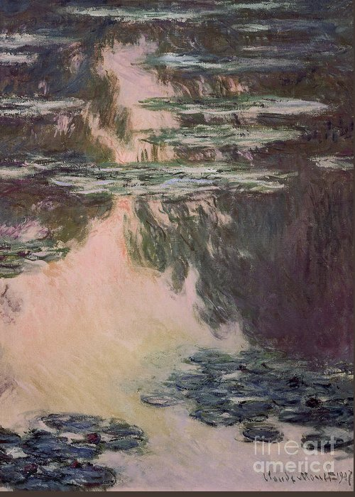 Waterlilies Greeting Card featuring the painting Waterlilies With Weeping Willows by Claude Monet
