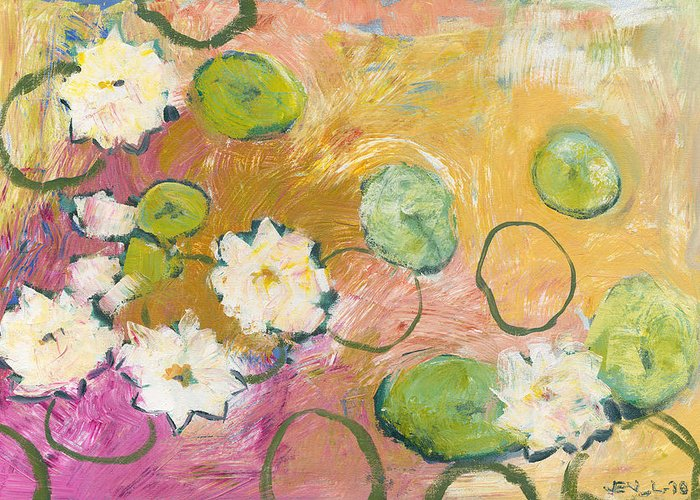 Lilly Greeting Card featuring the painting Waterlillies At Dusk by Jennifer Lommers