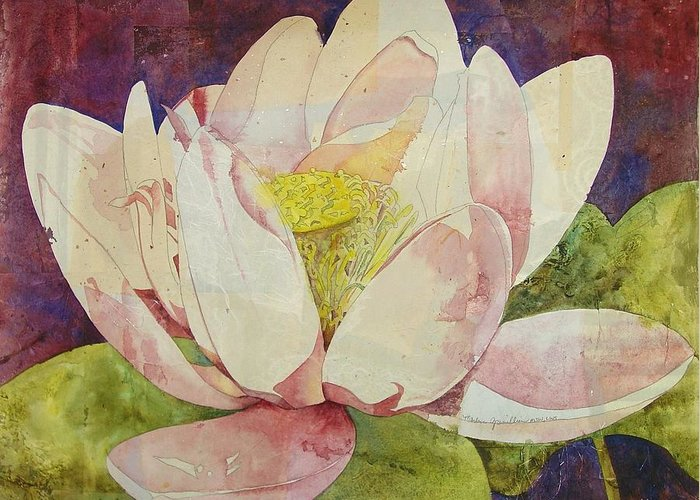 Watercolor Greeting Card featuring the painting Waterlily Collage by Marlene Gremillion