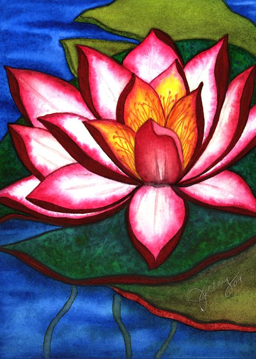 Watercolor Greeting Card featuring the painting Waterlily by Stephanie Jolley