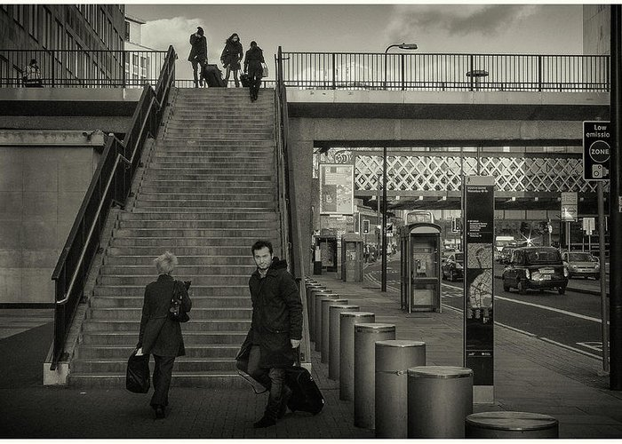 Black And White Greeting Card featuring the photograph Waterloo Steps by Stewart Marsden