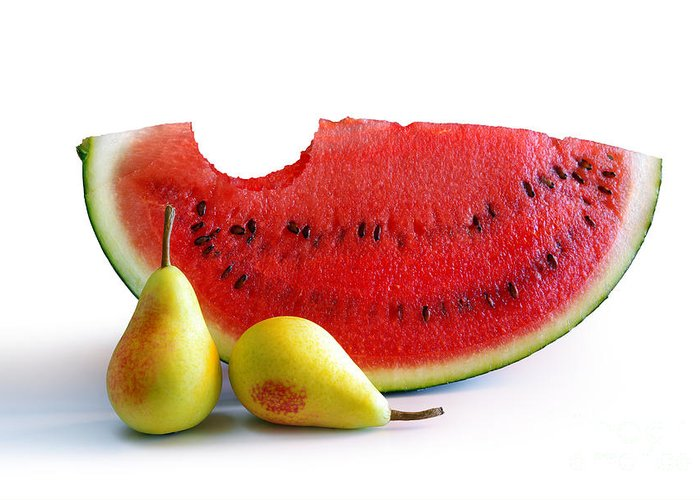 Arrangement Greeting Card featuring the photograph Watermelon And Pears by Carlos Caetano