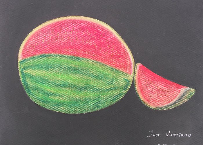 Fruit Greeting Card featuring the pastel Watermelon by M Valeriano
