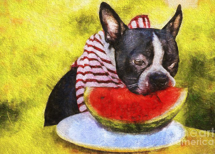 Watermelon Greeting Card featuring the painting Watermelon Lunch by Eric Chegwin