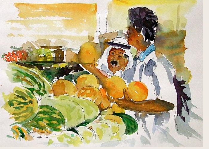 Watermelon Man Greeting Card featuring the painting Watermelon Man by Mike Shepley DA Edin