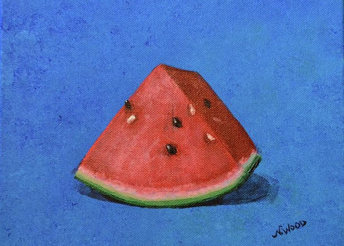 Watermelon Greeting Card featuring the painting Watermelon by Nancy Otey