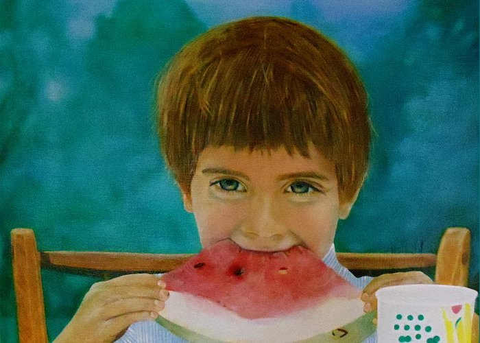 Watermelon Greeting Card featuring the painting Watermelon Time by Bruce Ben Pope