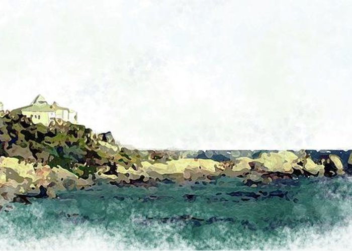 Sea Scene Greeting Card featuring the painting Waters Edge by Ronald Rosenberg