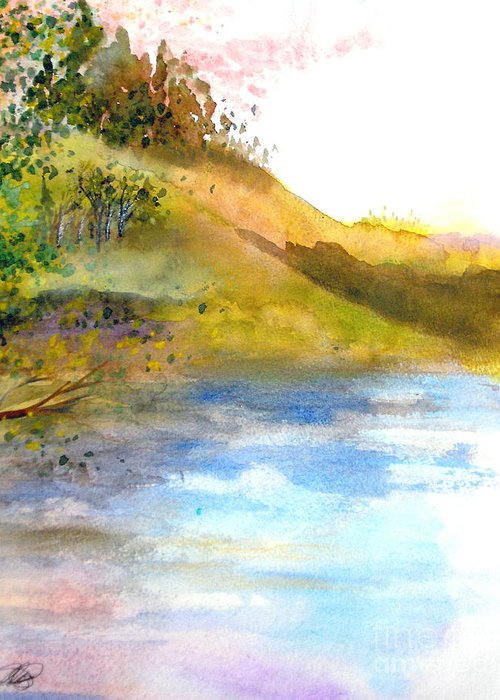 Landscape Greeting Card featuring the painting Waters Edge by Vivian Mosley