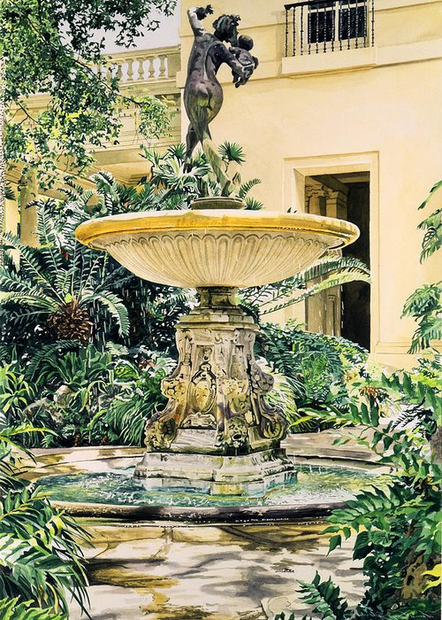 Fountains Greeting Card featuring the painting Watersounds II by David Lloyd Glover