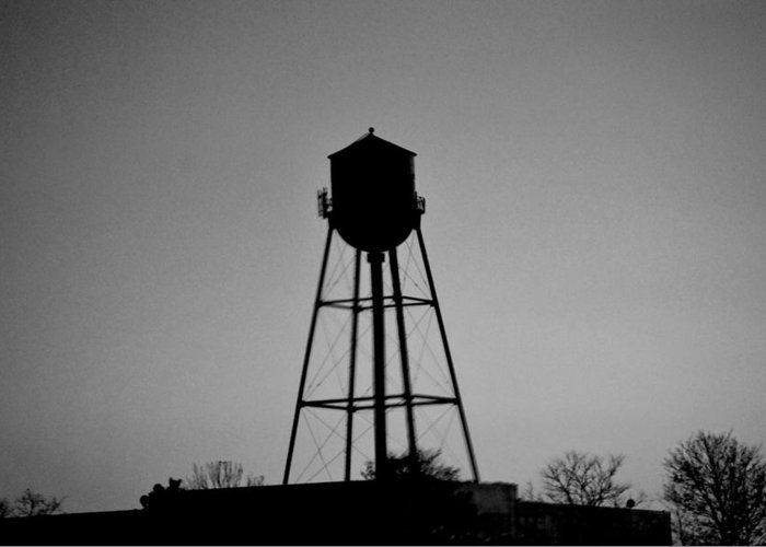 Water Greeting Card featuring the digital art Watertower In Black And White by Michelle BarlondSmith