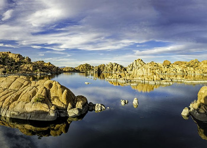 Watson Lake Greeting Card featuring the photograph Watson Lake Panoramic 30x12 by Tom Clark