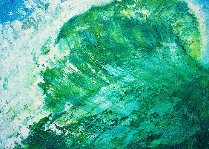 Wave Green Wave Mixed Medium Surfing Beach Tropical Summer Mixed Media Oils Painting Wax Texture Mi Greeting Card featuring the painting wave IX by Martine Letoile