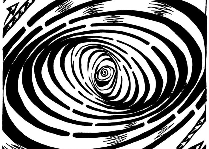 Wave Greeting Card featuring the drawing Wave Swirl Maze by Yonatan Frimer Maze Artist