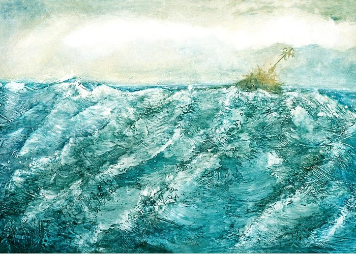 Oil Painting Greeting Card featuring the painting wave V by Martine Letoile