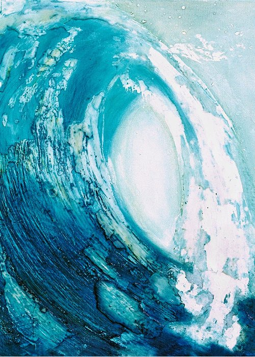 Wave Greeting Card featuring the painting wave VIII by Martine Letoile