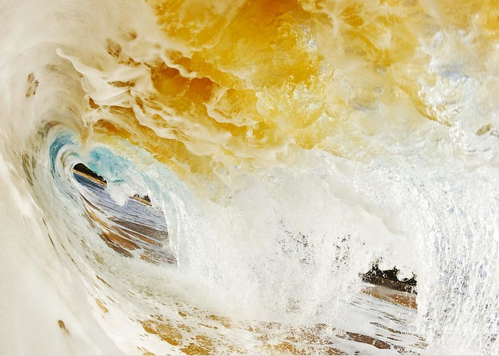 Amazing Greeting Card featuring the photograph Wave Whitewash by MakenaStockMedia - Printscapes