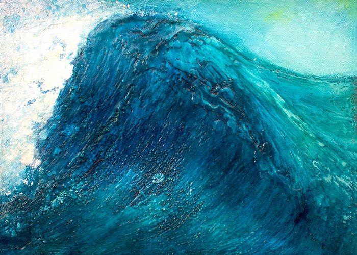Wave Blue Wave Sea Water Seascape Rising Wave Mixed Media Encaustic Painting Original Canvas Wax Oil Greeting Card featuring the painting wave X by Martine Letoile