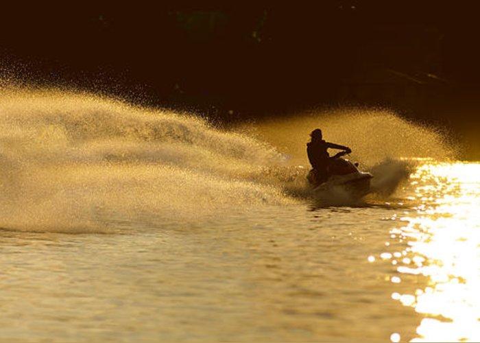 Water Greeting Card featuring the photograph Waverunner Weekend by Steve Gadomski