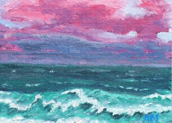 Waves Greeting Card featuring the painting Waves 4 by Alex Mortensen