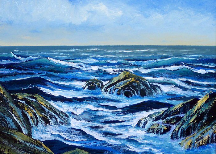 Ocean Greeting Card featuring the painting Waves And Foam by Frank Wilson