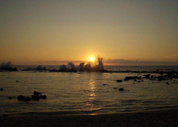 Waves Greeting Card featuring the photograph Waves And The Sun Setting by Sandra Shaw