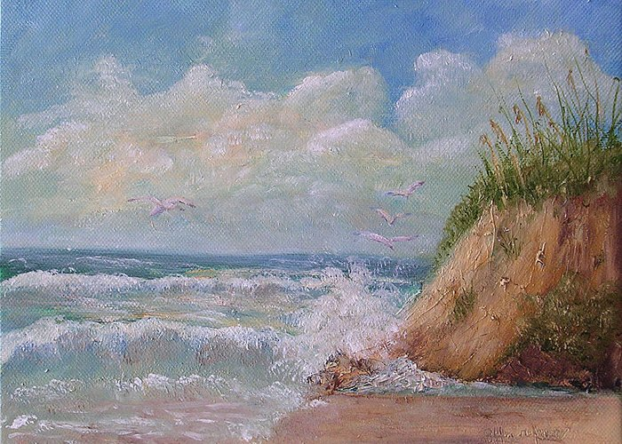 Seagulls Greeting Card featuring the painting Waves by Barbara Harper