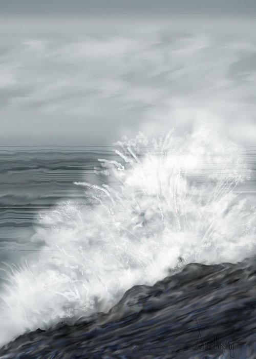 Seascape Greeting Card featuring the painting Waves Crashing The Rocks In Ireland by Anne Norskog
