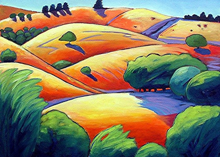 Landscape Greeting Card featuring the painting Waves Of Hills by Gary Coleman