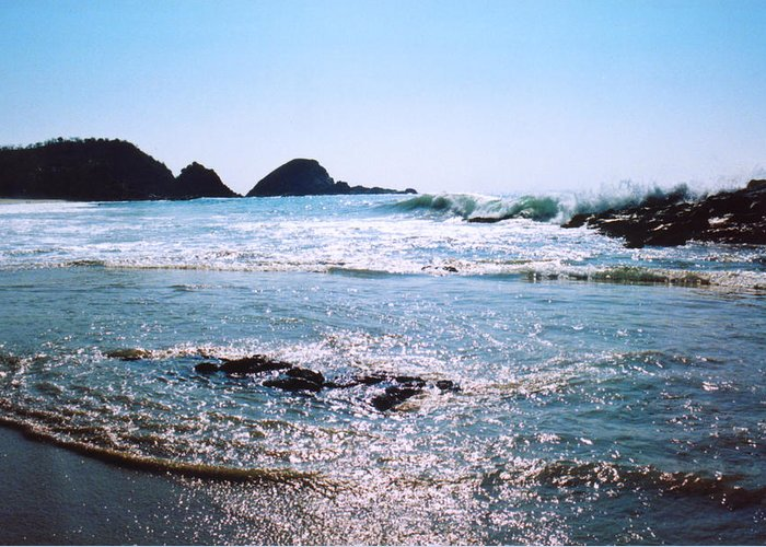 Surf Greeting Card featuring the photograph Waves On The Mid Beach Rocks At Zipolite by Lyle Crump