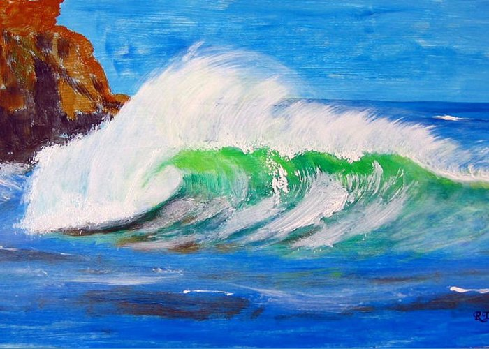 Waves Greeting Card featuring the painting Waves by Richard Le Page