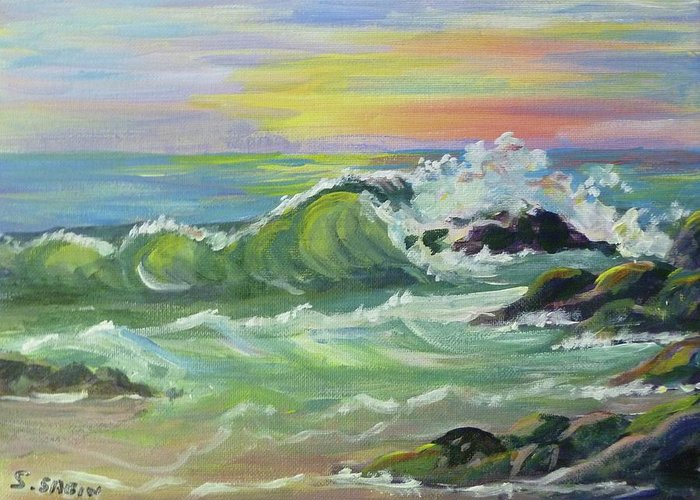 Wave Greeting Card featuring the painting Waves by Saga Sabin