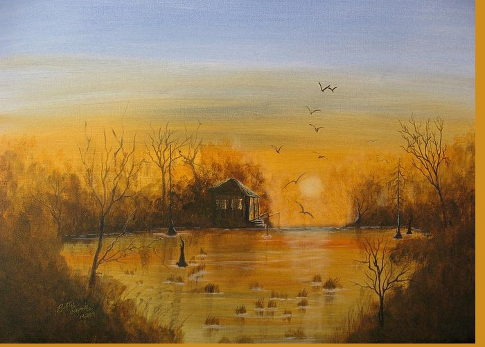 Orange Greeting Card featuring the painting Way Back by Betty Reineke
