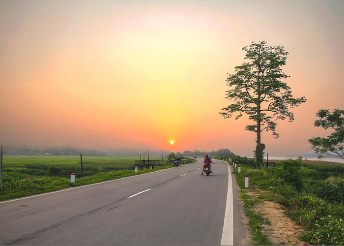 Landscape Greeting Card featuring the photograph Way Back by Manh Phi