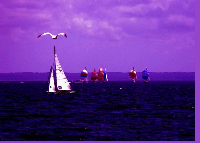 Sailboat Greeting Card featuring the photograph Way Up In The Clouds by Kendall Eutemey