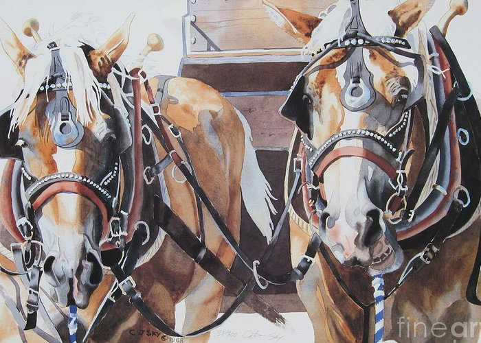 Western Draft Team Greeting Card featuring the painting Waylen And Willie by Cathy Sky