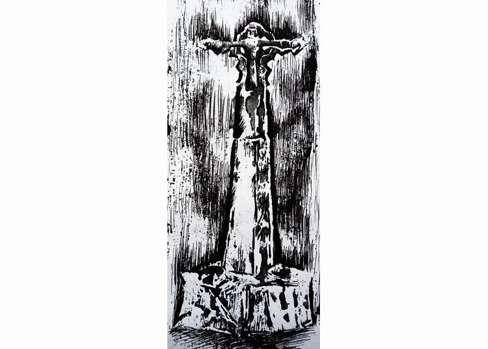 Wayside Cross Greeting Card featuring the painting Wayside Cross by Lucy Deane