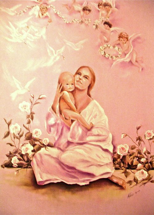 Spiritual Greeting Card featuring the painting We All Come As Angels Unaware by Addie Coppola