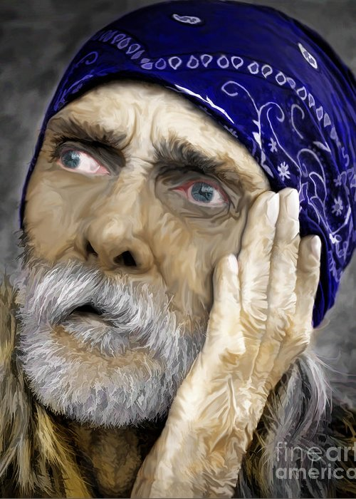 Homeless Greeting Card featuring the photograph We All Need Help by JohnD Smith