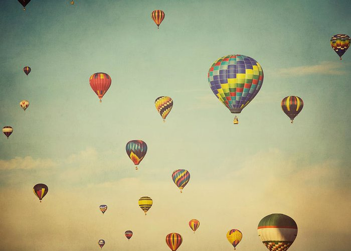 Hot Air Balloons Greeting Card featuring the photograph We Are Floating In Space by Irene Suchocki