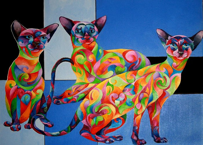 Cat Greeting Card featuring the painting We Are Siamese If You Please by Sherry Shipley