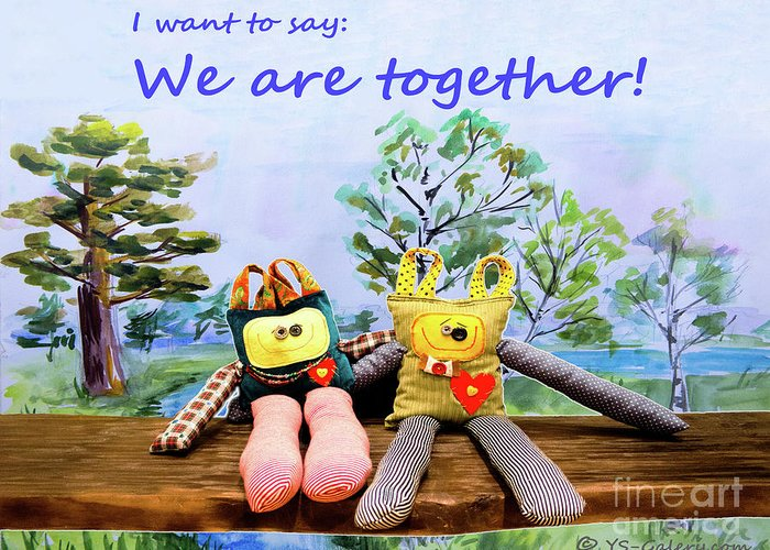 Toys Greeting Card featuring the mixed media We Are Together by Yana Sadykova