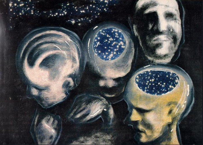 Universe Aura Thoughts Thinking Faces Mistery Greeting Card featuring the mixed media We Are Universe by Veronica Jackson